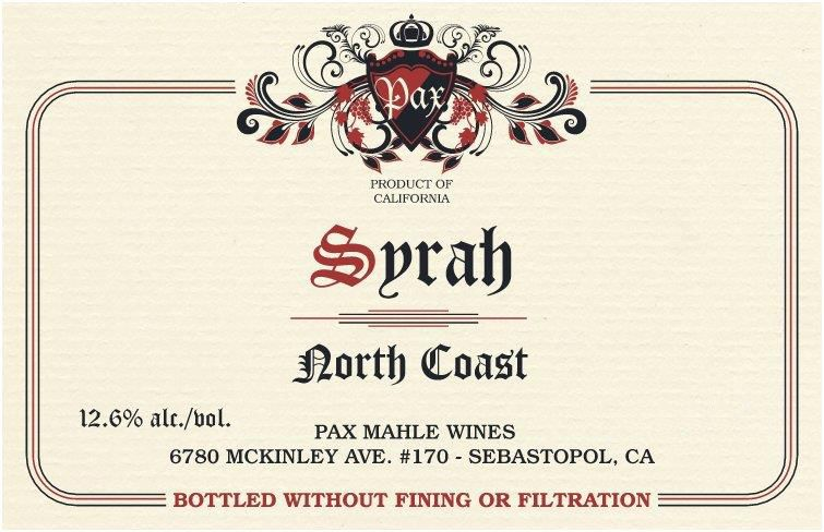 Pax North Coast Syrah 2018  Front Label