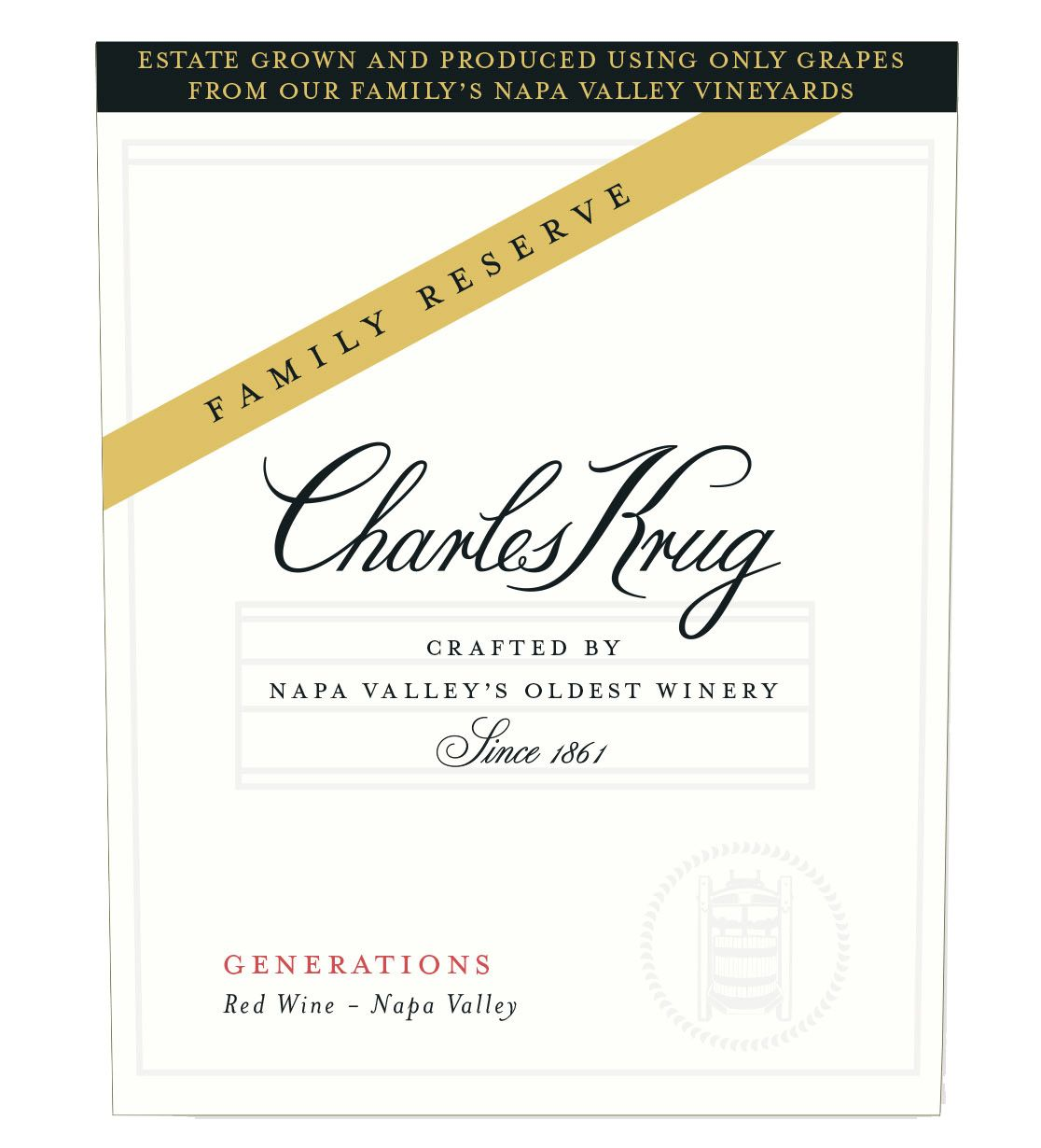 Charles Krug Family Reserve Generations 2016  Front Label