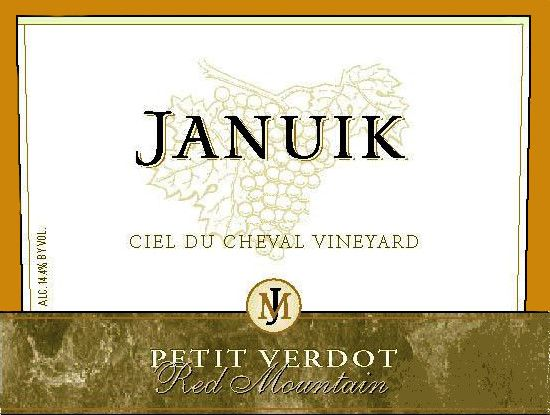 Januik Winery Ciel du Cheval Vineyard Petit Verdot 2012  Front Label