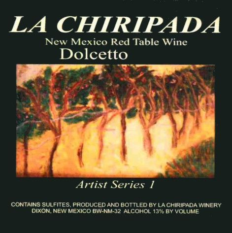 La Chiripada Winery Artist Series 1 Dolcetto 2010  Front Label
