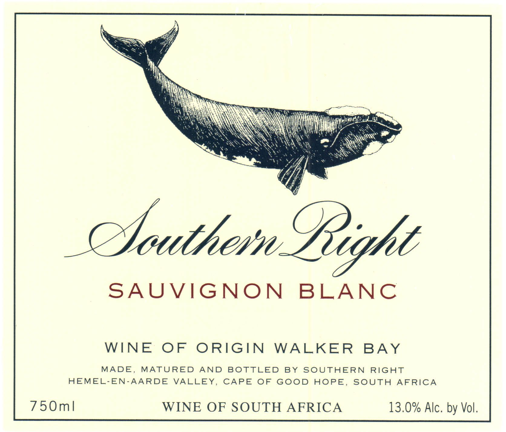 Southern Right Sauvignon Blanc 2019  Front Label