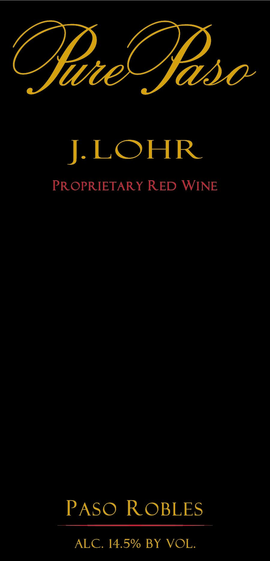 J. Lohr Pure Paso Proprietary Red 2018  Front Label