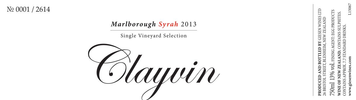 Giesen Clayvin Single Vineyard Selection Syrah 2013 Front Label