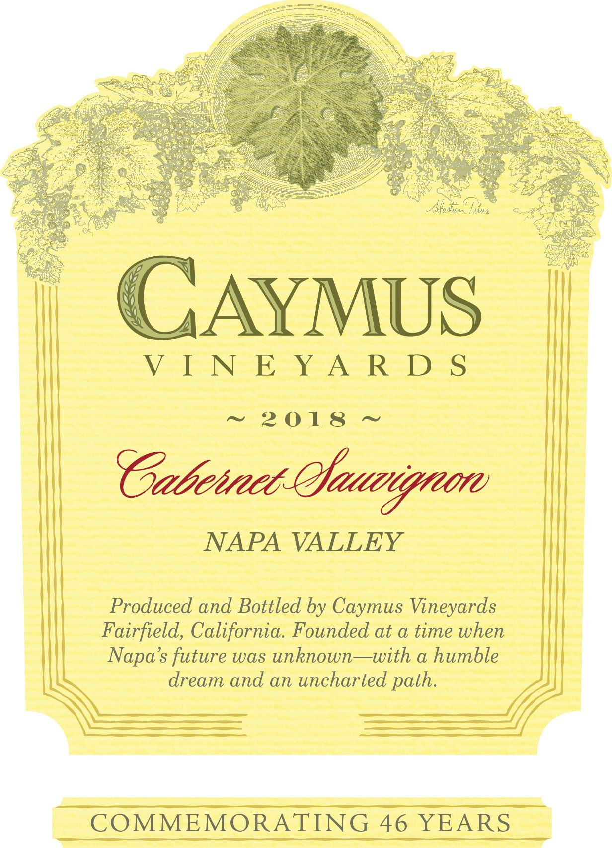 Caymus Napa Valley Cabernet Sauvignon (1 Liter Bottle) 2018 Front Label