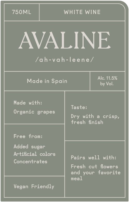Avaline White Blend  Front Label