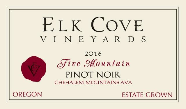 Elk Cove Five Mountain Pinot Noir 2016 Front Label