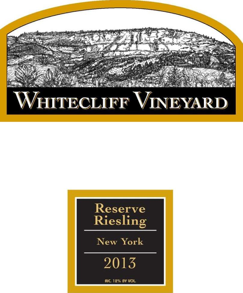 Whitecliff Vineyard & Winery Reserve Riesling 2013 Front Label