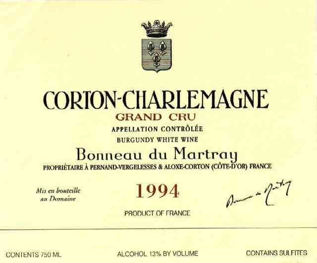 Bonneau du Martray Corton Charlemagne Grand Cru 1994 Front Label