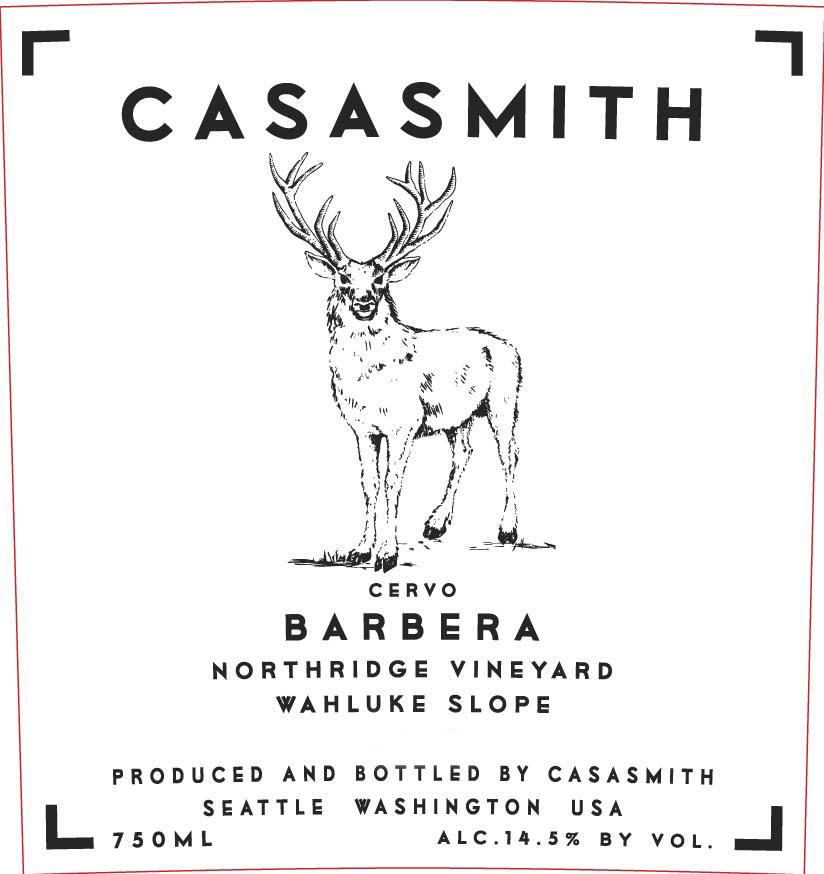 Casa Smith Cervo Barbera 2017  Front Label
