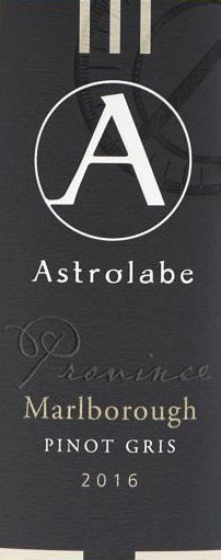 Astrolabe Province Pinot Gris 2016  Front Label