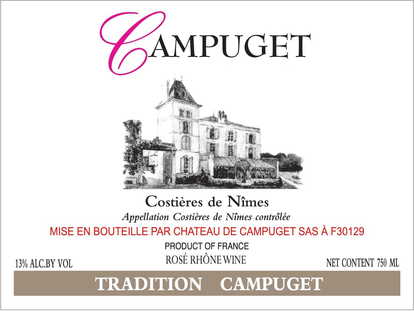 Chateau de Campuget Tradition Rose 2019  Front Label