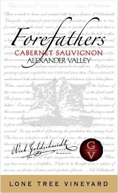 Goldschmidt Vineyard Forefathers Lone Tree Vineyard Cabernet Sauvignon 2017  Front Label
