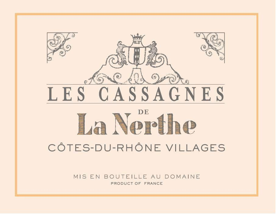 Chateau La Nerthe Les Cassagnes Cotes du Rhone Villages 2016 Front Label