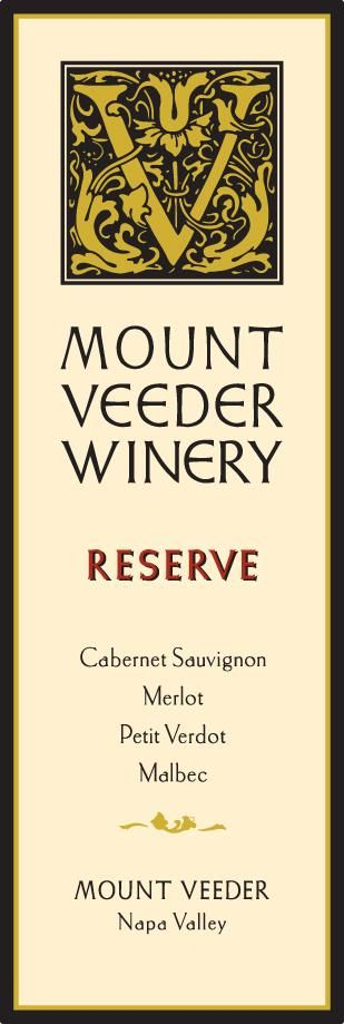Mount Veeder Winery Reserve Red 2015 Front Label