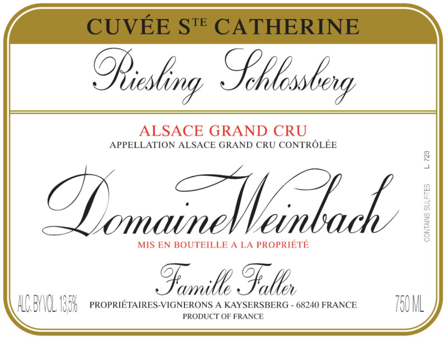 Domaine Weinbach Schlossberg Cuvee Sainte Catherine Grand Cru Riesling 2017  Front Label