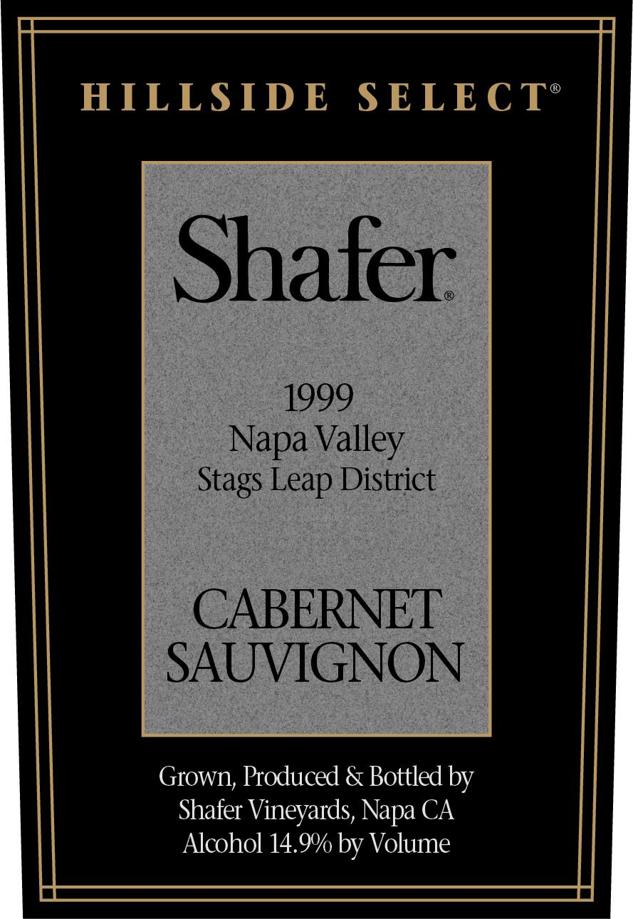 Shafer Hillside Select Cabernet Sauvignon 1999  Front Label