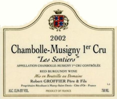 Domaine Robert Groffier Pere & Fils Chambolle Musigny Les Sentiers Premier Cru 2002 Front Label