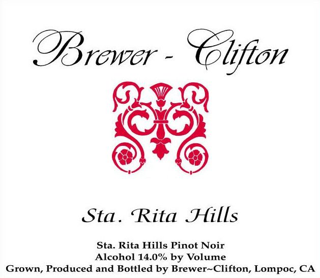 Brewer-Clifton Sta. Rita Hills Pinot Noir 2016 Front Label