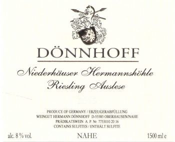 Donnhoff Niederhauser Hermannshohle Auslese Goldkapsel (375ML Half-bottle) 2017  Front Label