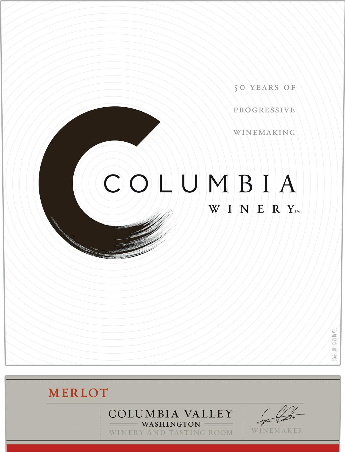 Columbia Winery Merlot 2016 Front Label