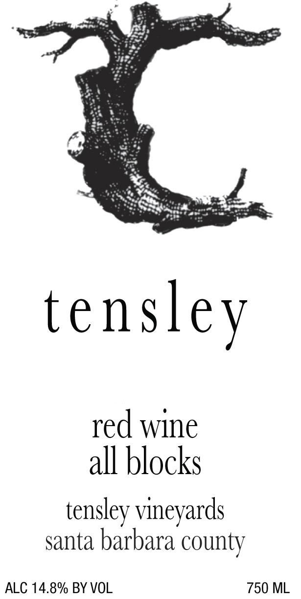 Tensley All Blocks Estate Blend 2018  Front Label