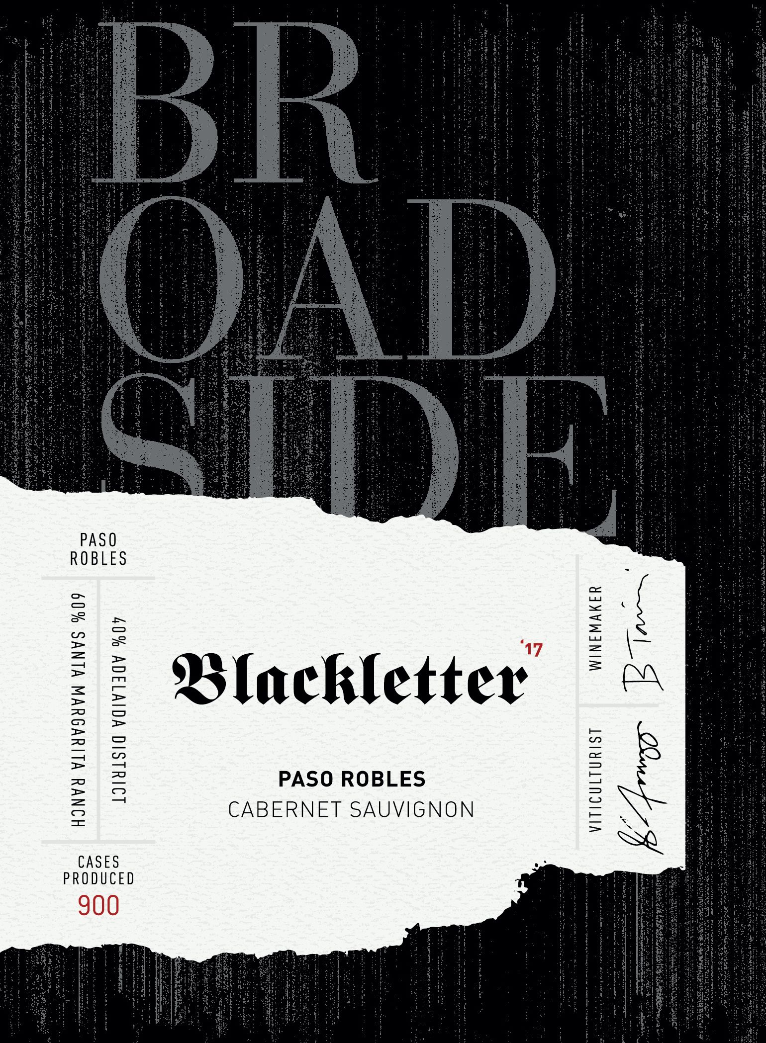 Broadside Blackletter Cabernet Sauvignon 2017  Front Label