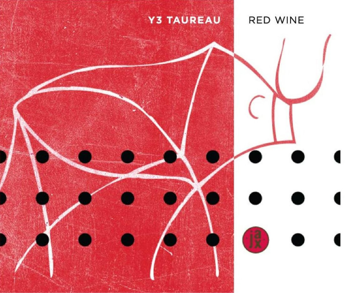 Jax Vineyards Y3 Taureau Red 2016 Front Label