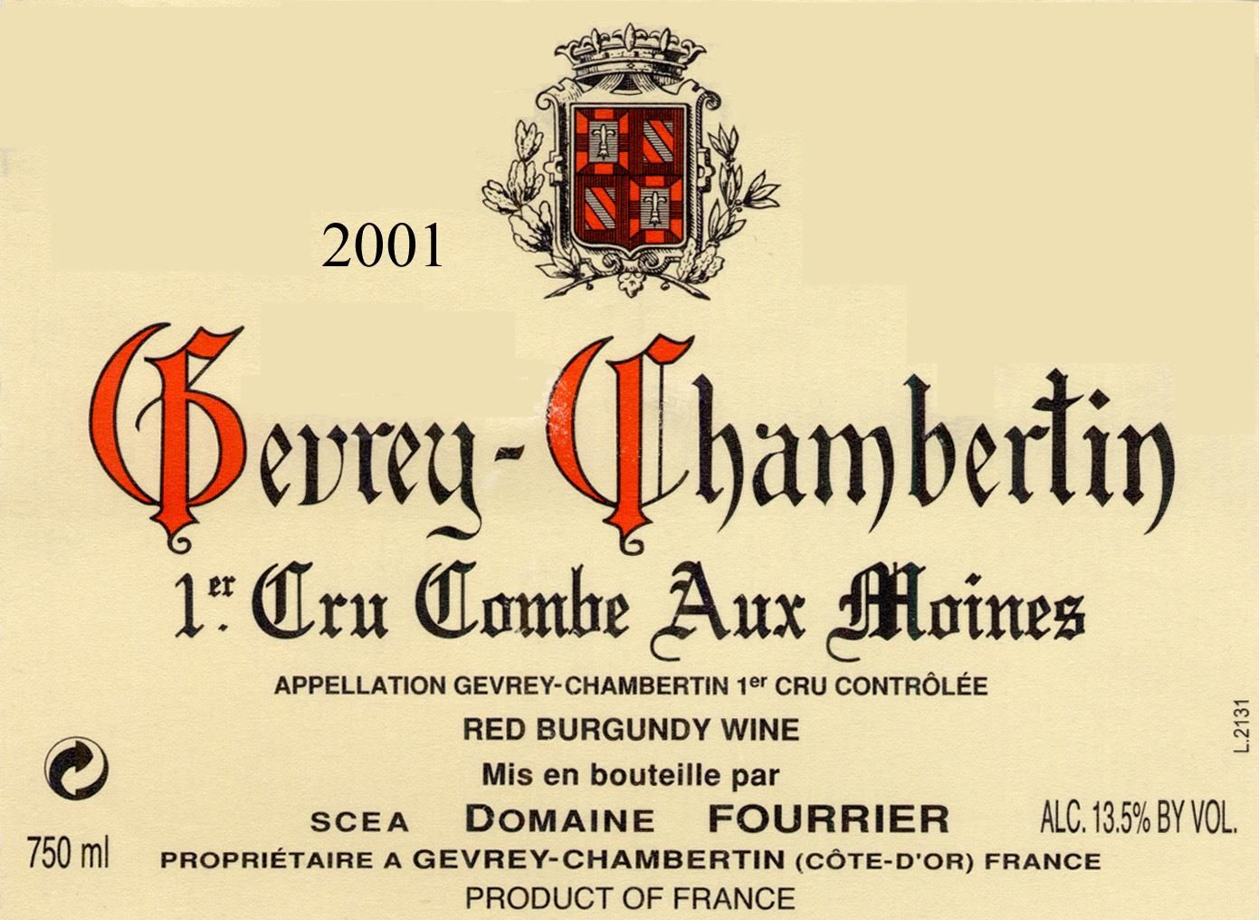 Domaine Fourrier Gevrey Chambertin Combe Aux Moines Premier Cru 2001  Front Label