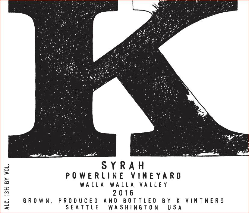K Vintners Powerline Syrah 2016  Front Label