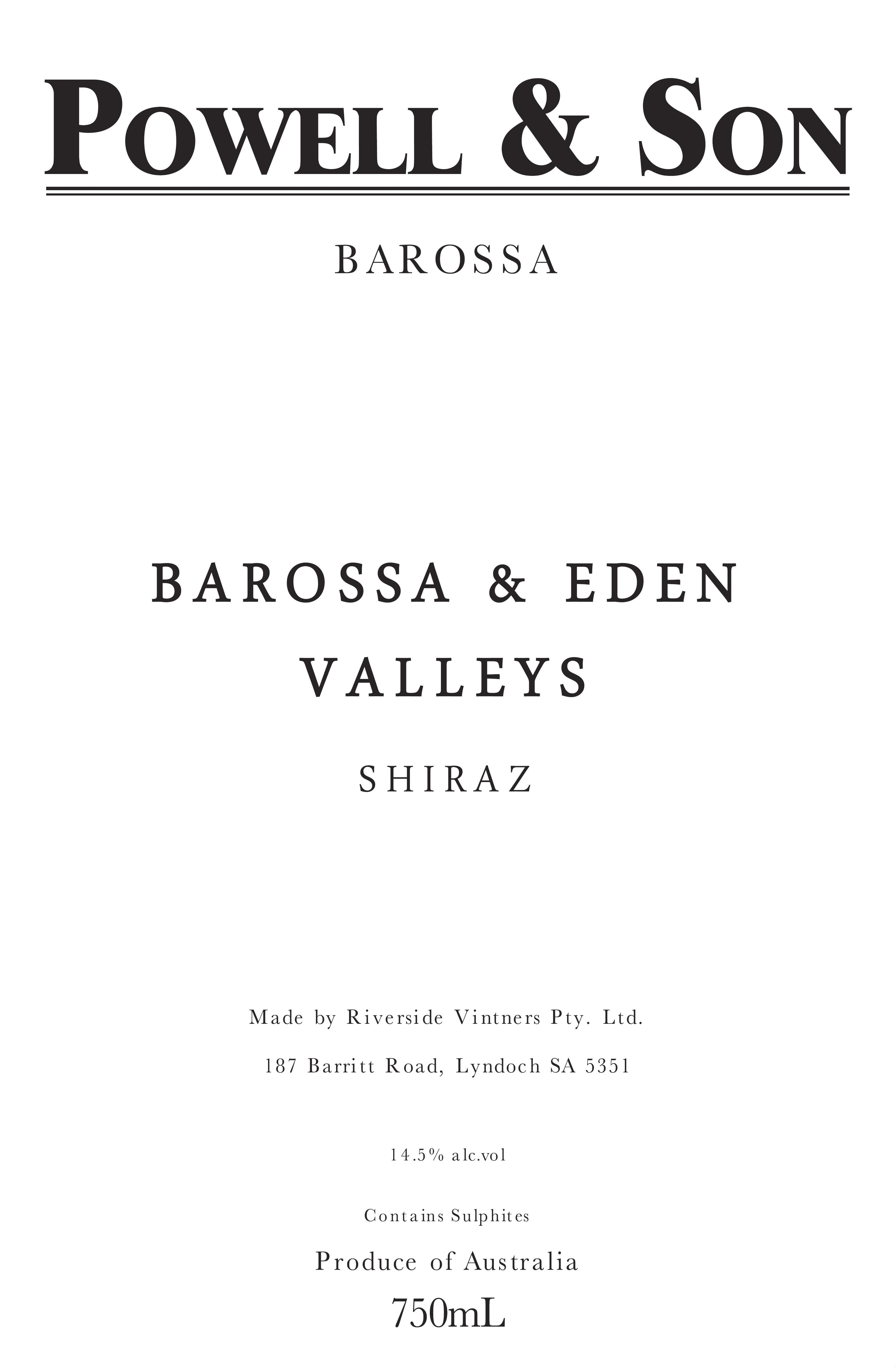 Powell & Son Barossa and Eden Valley Shiraz 2017  Front Label