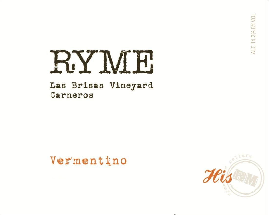 Ryme Las Brisas Vineyard His Vermentino 2016  Front Label