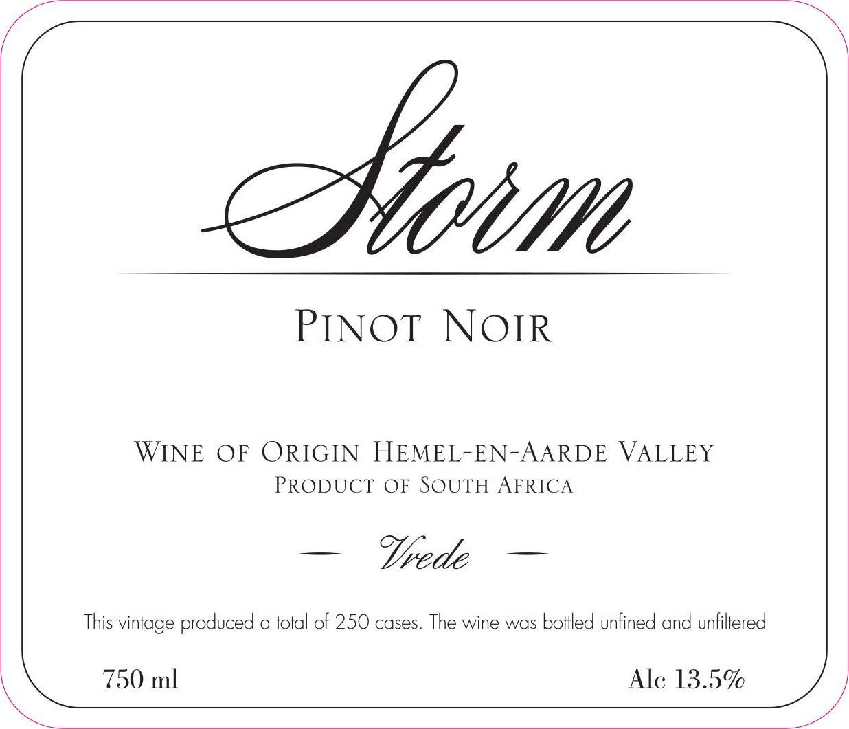 Storm Pinot Noir Vrede 2016  Front Label