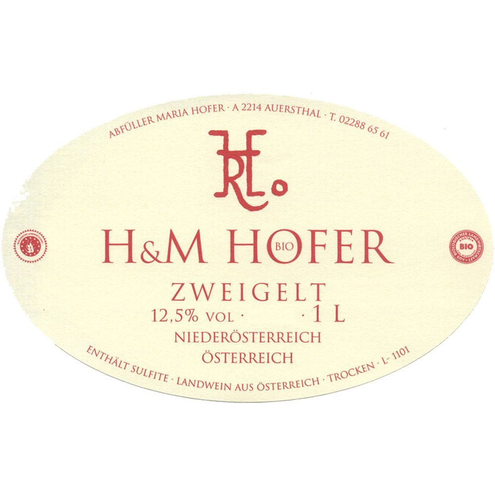 Hofer Zweigelt (1 Liter) 2016  Front Label