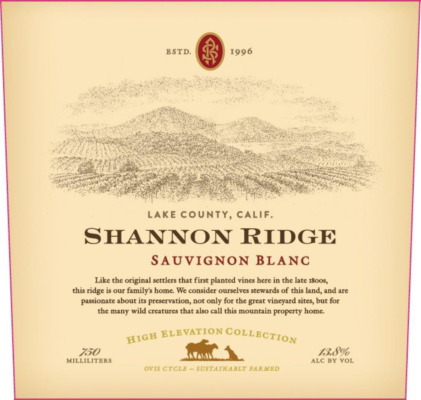 Shannon Ridge High Elevation Sauvignon Blanc 2018 Front Label