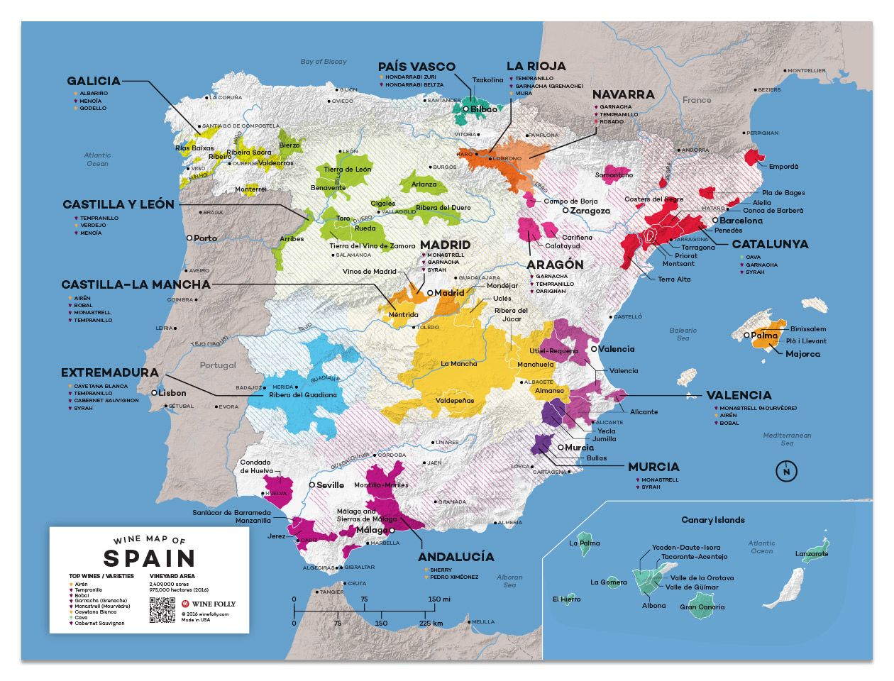 Wine Folly Spain Wine Map  Gift Product Image