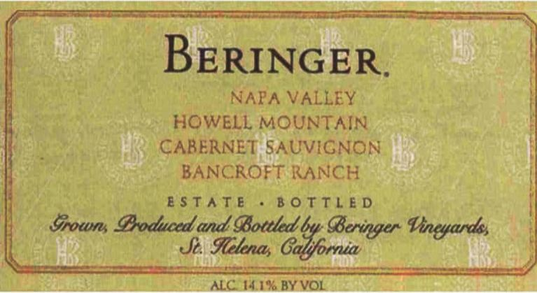 Beringer Howell Mountain Bancroft Ranch Merlot 2001  Front Label