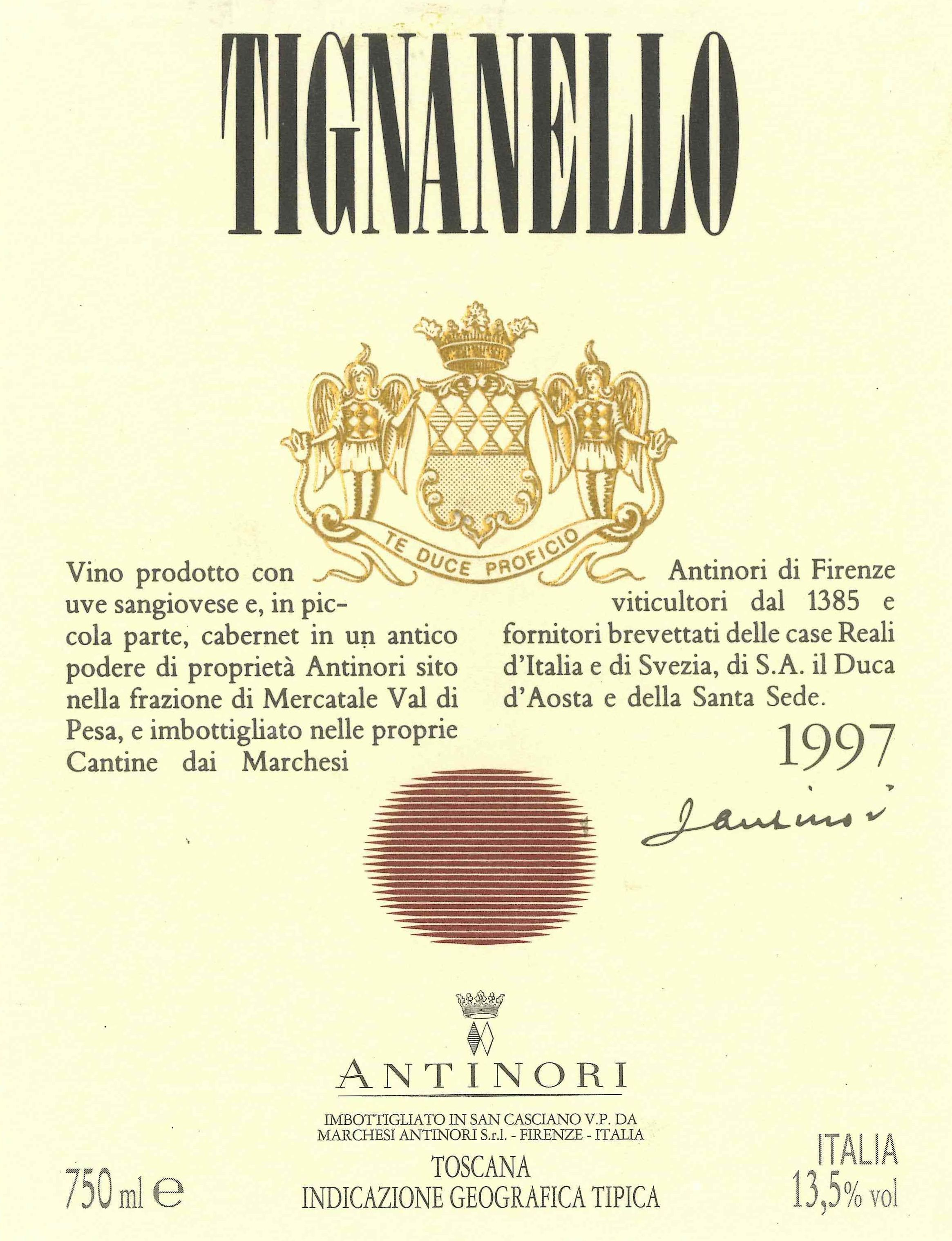 Antinori Tignanello (3 Liter Bottle) 1997  Front Label