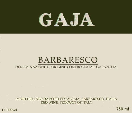 Gaja Barbaresco 1983  Front Label
