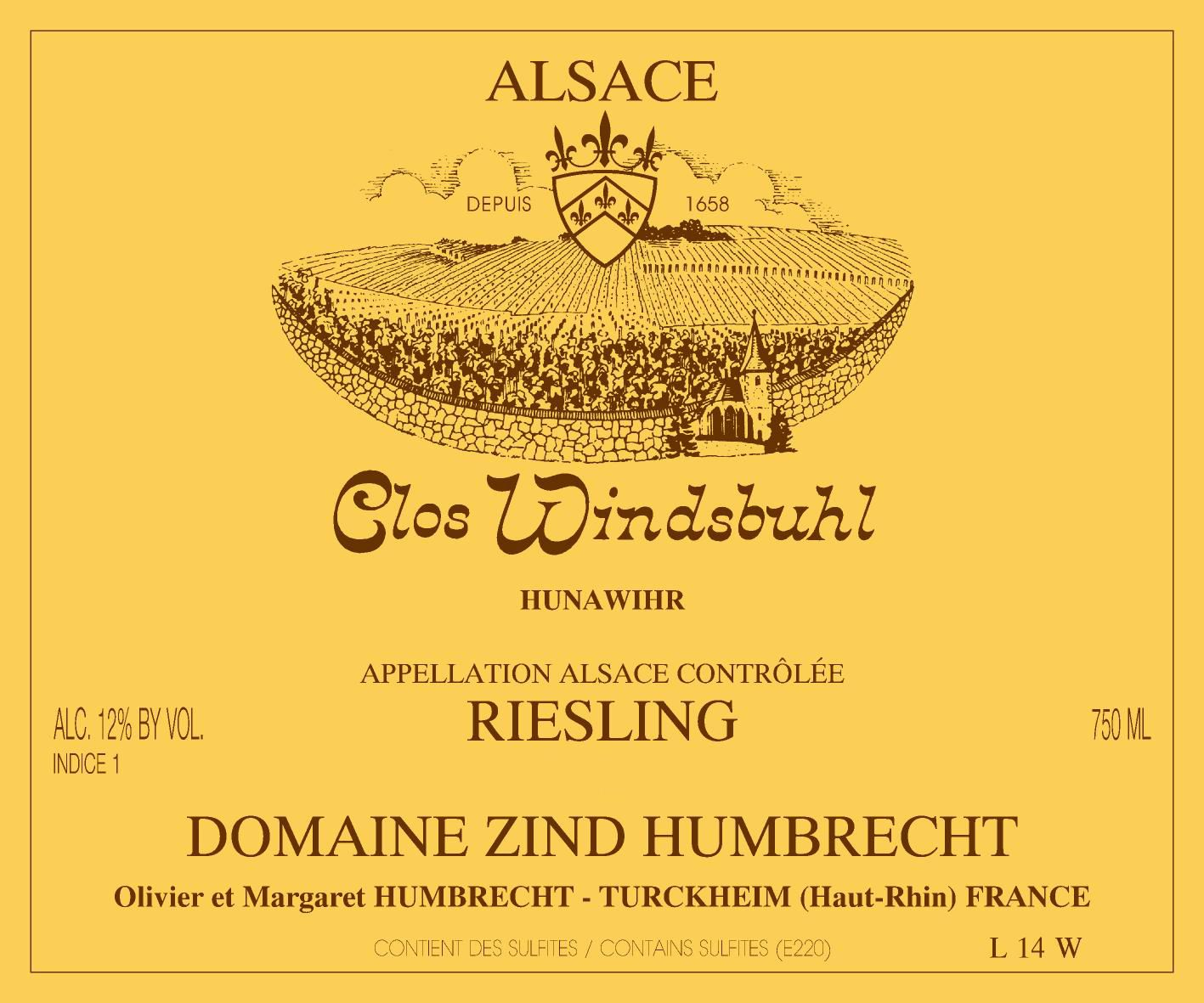 Zind-Humbrecht Clos Windsbuhl Riesling 2018  Front Label