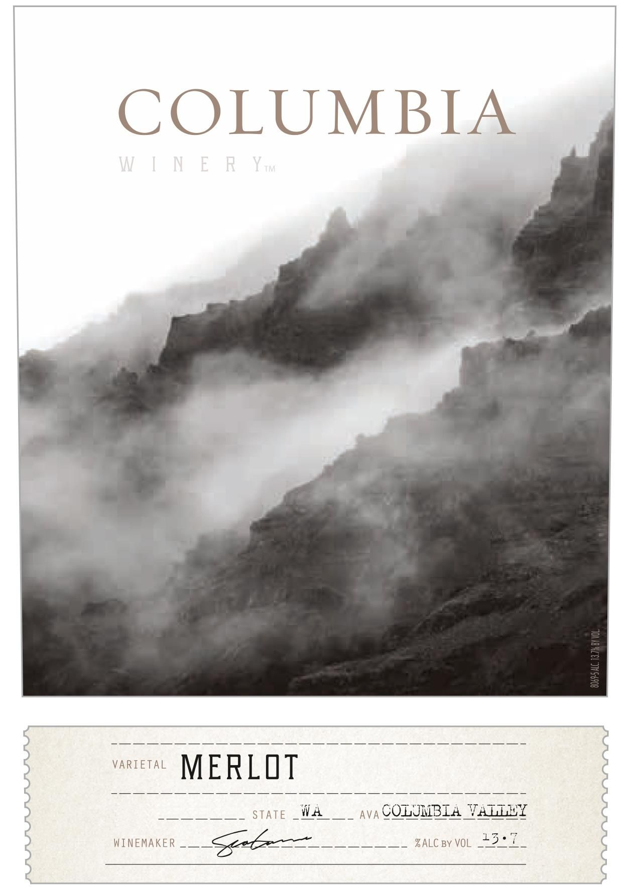 Columbia Winery Merlot 2018  Front Label