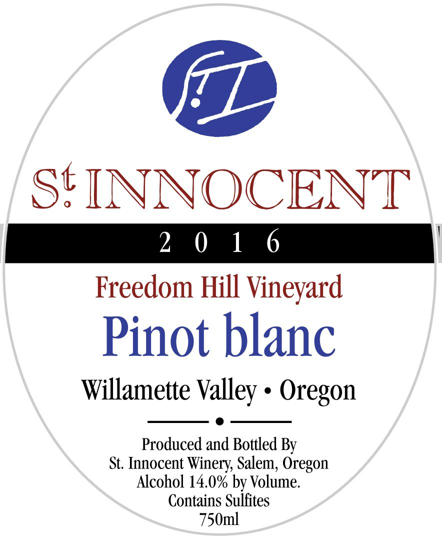 St. Innocent Freedom Hill Pinot Blanc 2016  Front Label