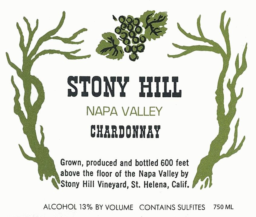 Stony Hill Chardonnay 1990  Front Label