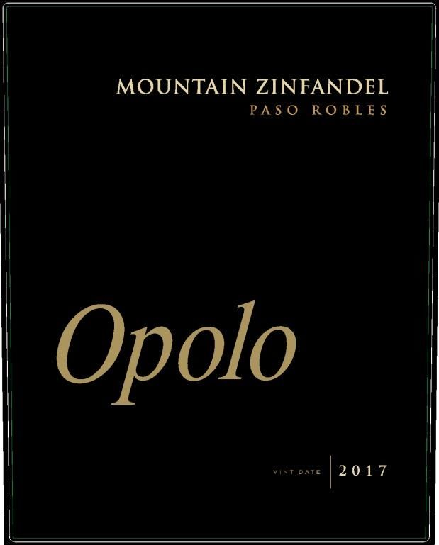 Opolo Mountain Zinfandel 2017  Front Label
