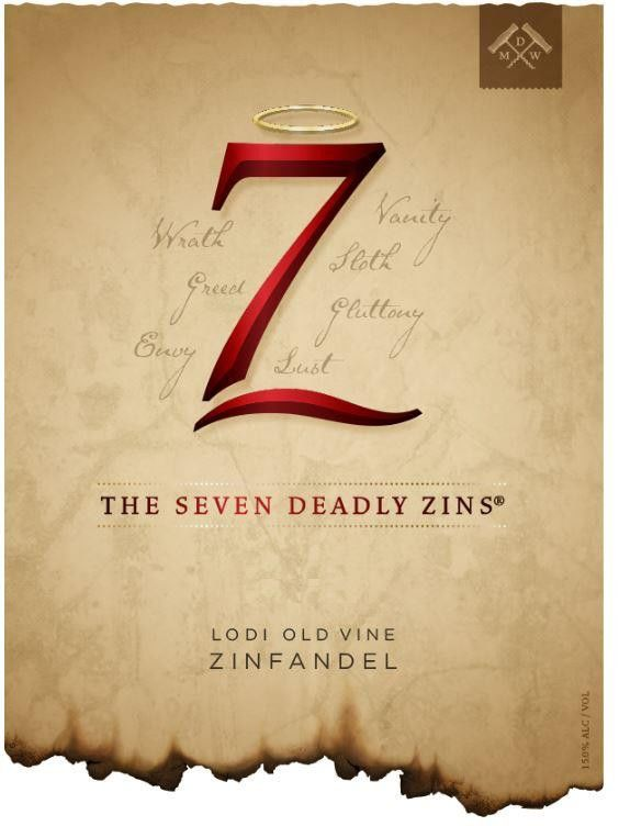 7 Deadly Zins Zinfandel (375ML Half-bottle) 2015  Front Label