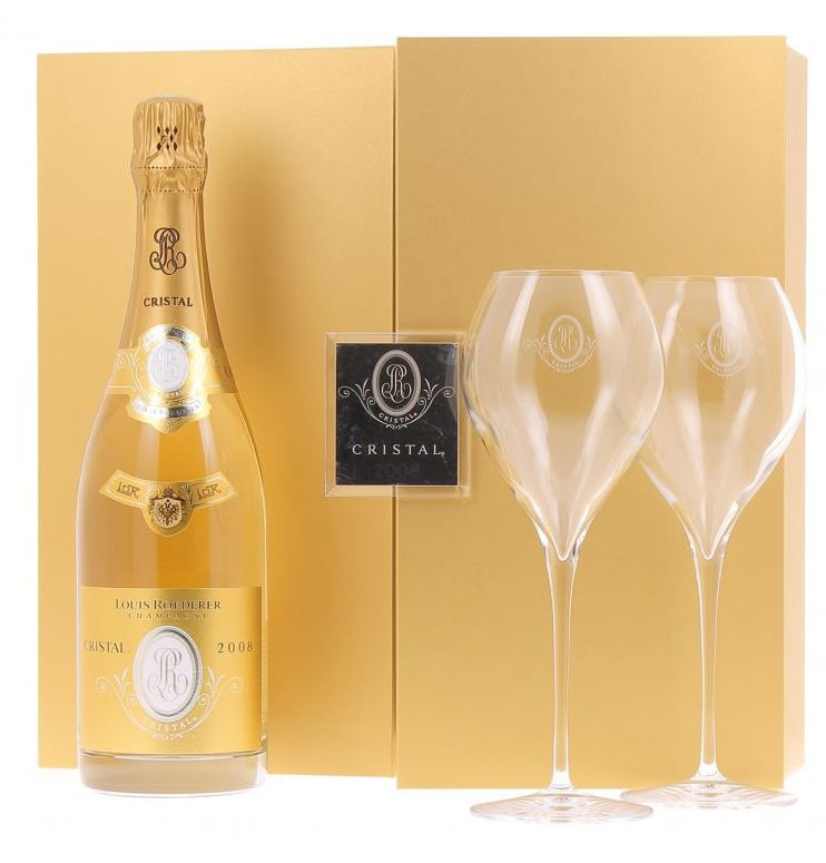 Louis Roederer Cristal Brut with Two Flutes and Gift Box 2008  Gift Product Image