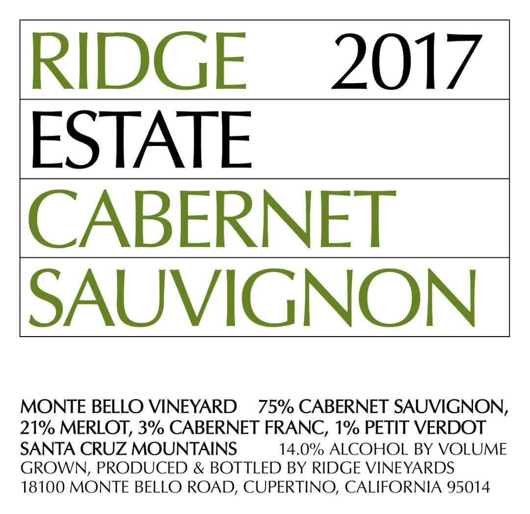 Ridge Estate Cabernet Sauvignon 2017  Front Label