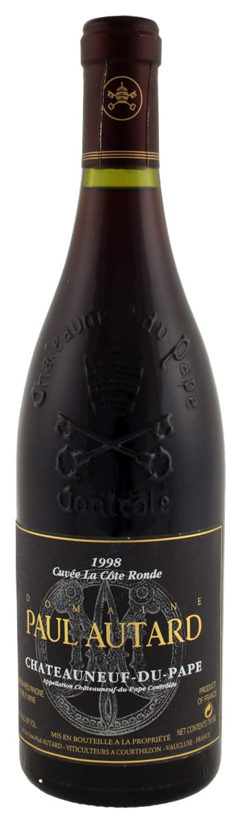 Paul Autard Cote Ronde Chateauneuf-du-Pape 1998  Front Bottle Shot