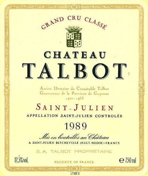 Chateau Talbot  1989  Front Label