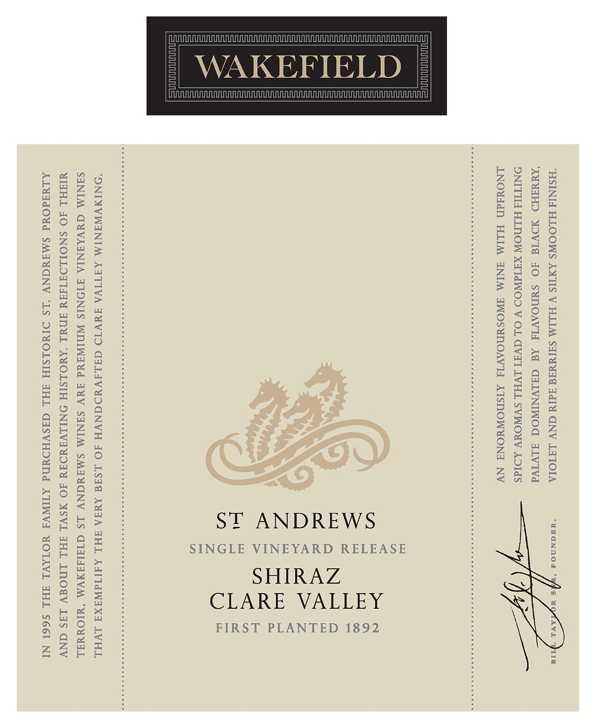 Wakefield St. Andrews Shiraz 2016  Front Label