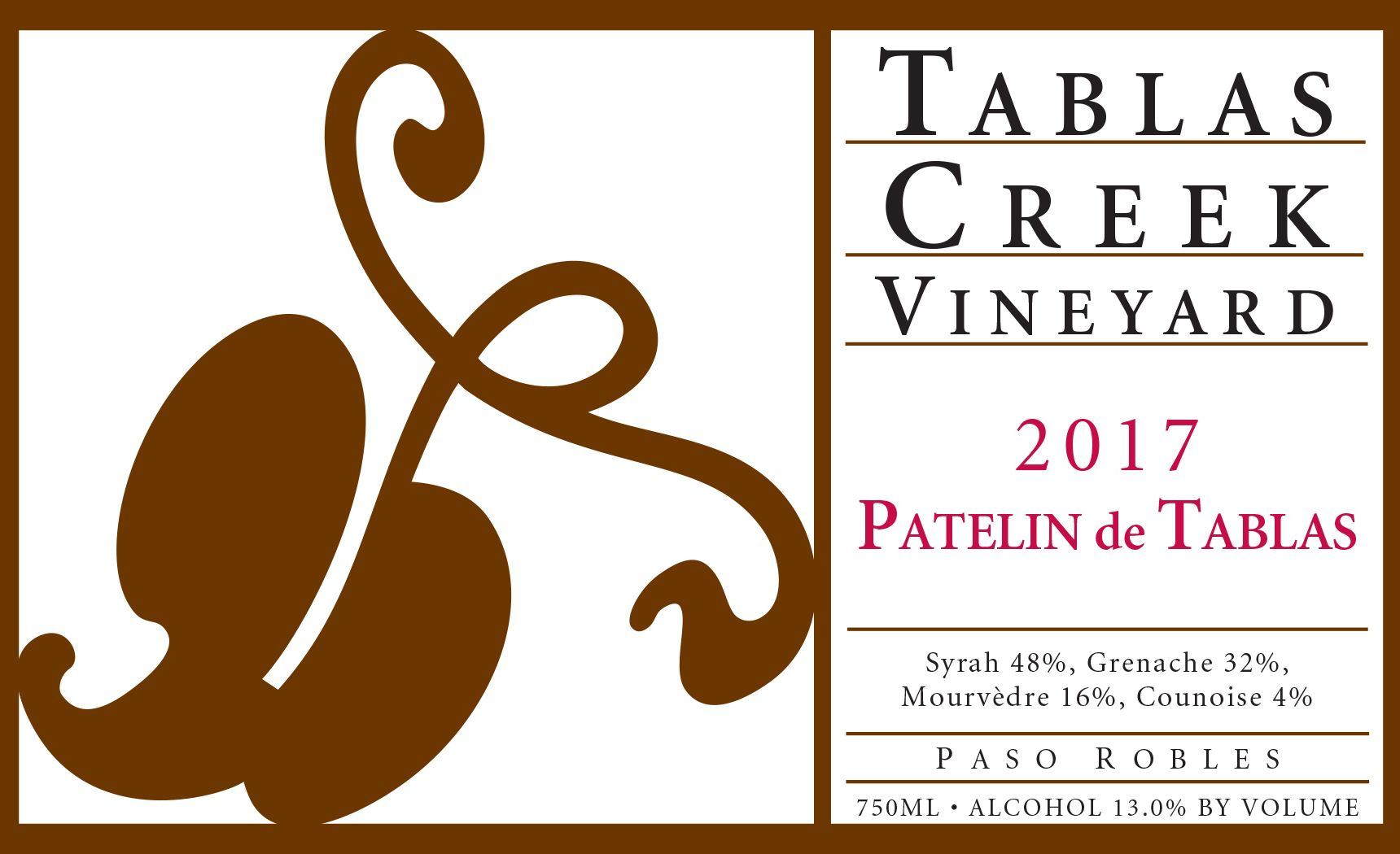 Tablas Creek Patelin de Tablas Rouge 2017  Front Label